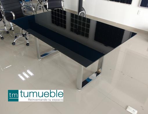 Mesa de juntas estructura cromo y cubierta cristal 6 for Muebles de oficina 1